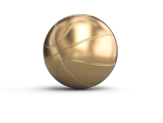 Gold-colored basketball on white