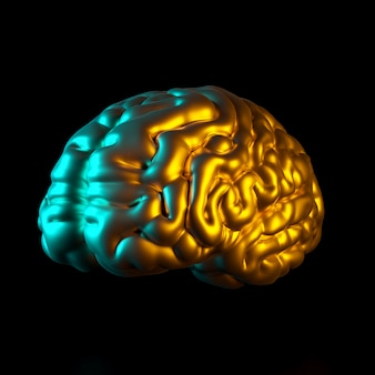 Gold colored human brain, 3d rendered image