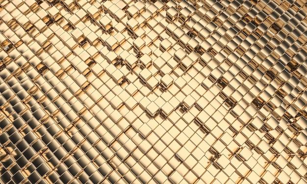 입방 기하학적 모양, 대각선 방향으로 골드 컬러 모자이크. 3d 렌더링.