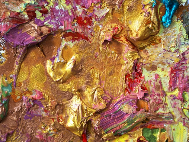 Gold colorful color oil painting texture abstract background.