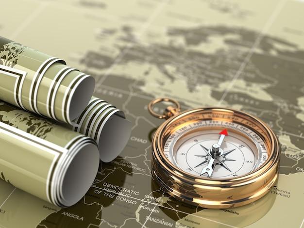 세계 지도 배경에 금 나침반입니다. 3d
