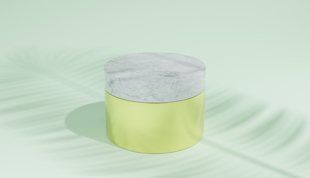 Gold cosmetic jar with marble lid on green background and palm leaf shadow. 3d illustration