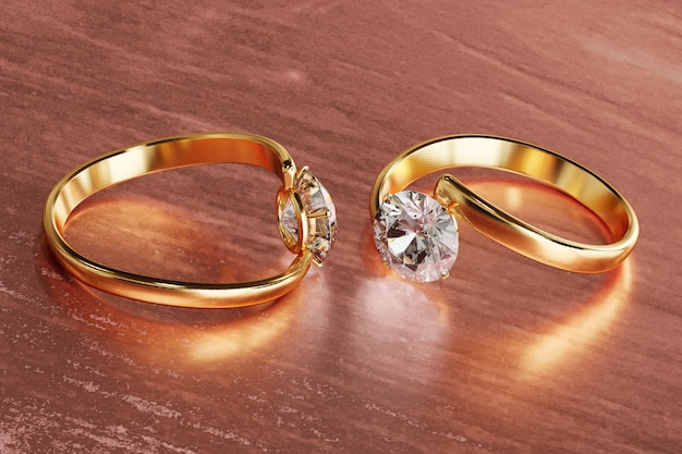 Gold couple diamond ring placed on glossy , 3d rendering.