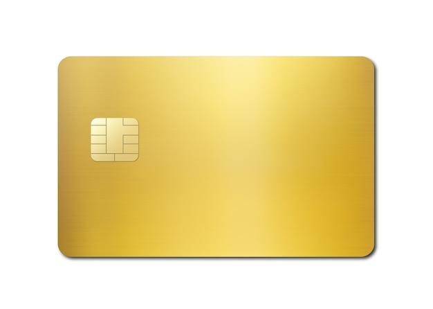 白い背景で隔離のゴールドのクレジットカードテンプレートdイラスト