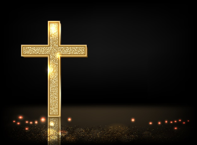 Gold cross on black background with copy space