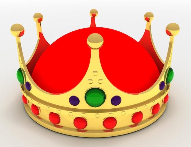 分離された金の王冠。 3dレンダリングされたイラスト