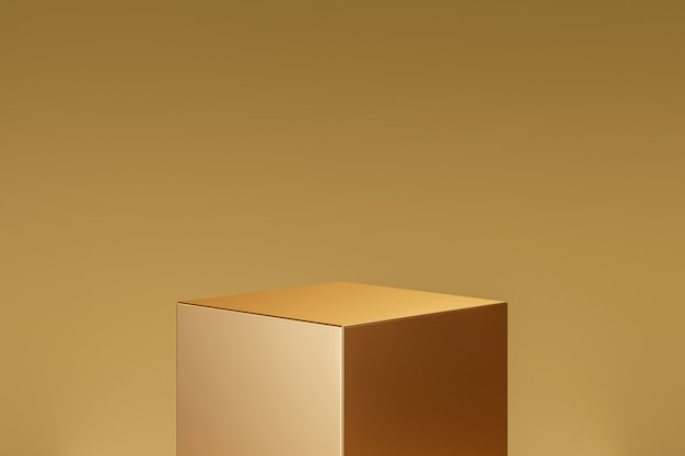 Gold cube product background stand or podium pedestal on golden display with luxury backdrops. 3d rendering.