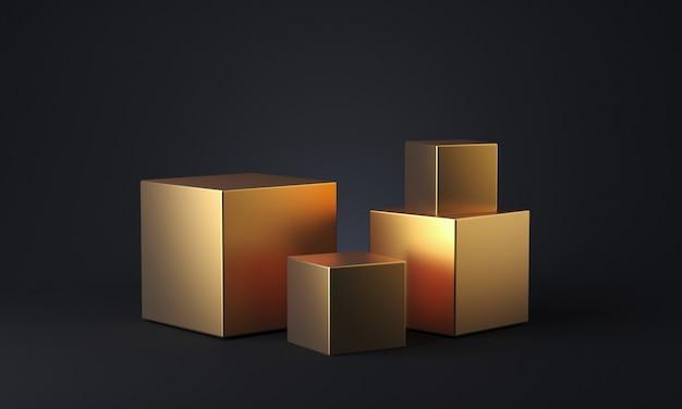 어두운 배경에 골드 큐브입니다. 최소한의 구성. 3d 렌더링