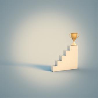 はしごの上部にあるゴールドカップのトロフィー。周りには誰もいない。成功のコンセプト。 3dレンダリング。
