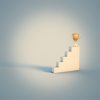 Gold cup trophy at the top of a ladder. nobody around. success concept. 3d render.