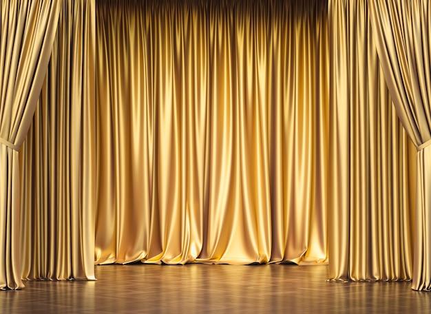 金のカーテンとフローリング。 3dレンダリング。独占権の概念