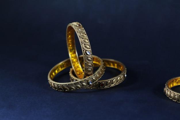 Gold and diamond bangles set