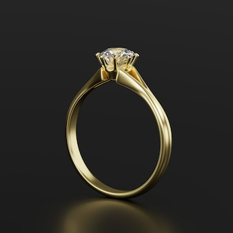 Gold diamond ring isolated on black background 3d rendering