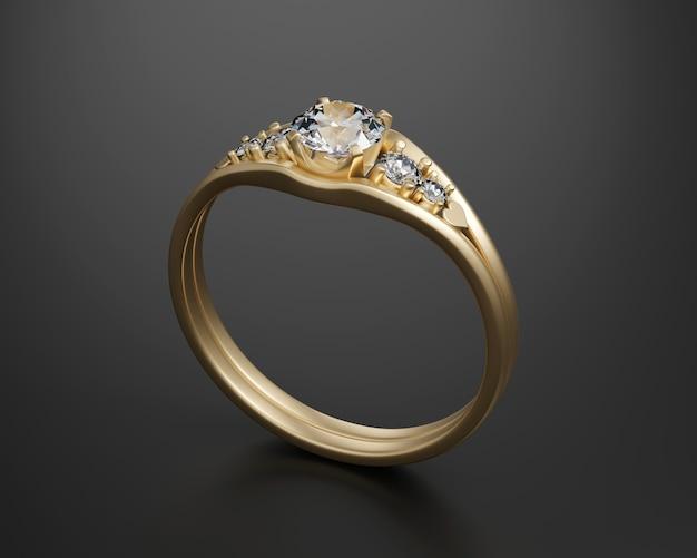 黒の背景に分離されたゴールドダイヤモンドリング3dレンダリング