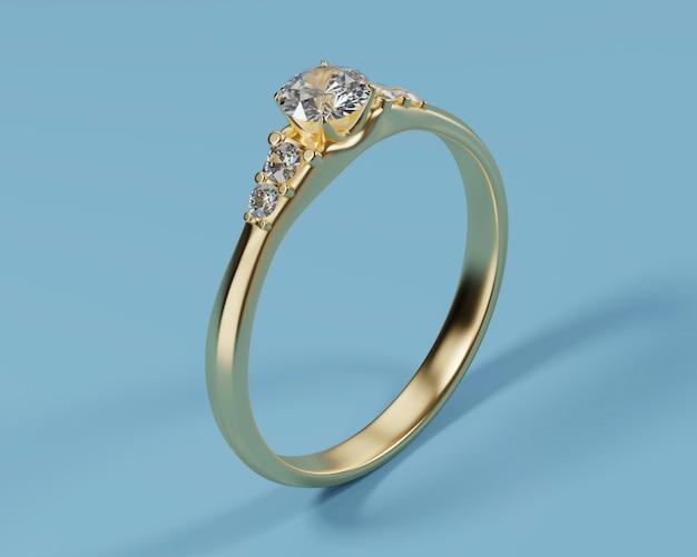 青い背景に分離されたゴールドダイヤモンドリング、3dレンダリング。