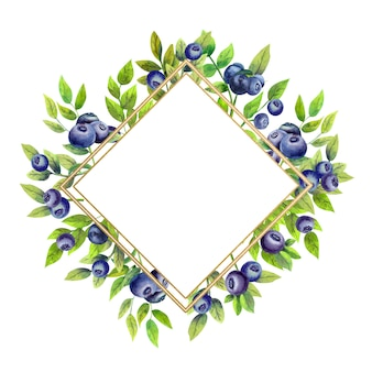 Gold diamond-shaped frame with watercolor blueberries