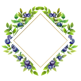 Gold diamond-shaped frame with watercolor flowers and blueberries