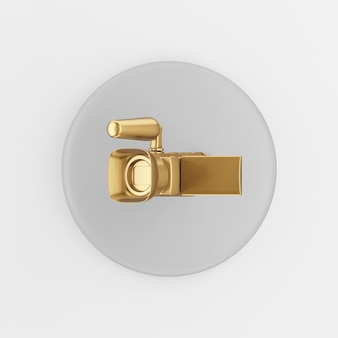 Gold digital video camera icon. 3d rendering round gray key button, interface ui ux element.