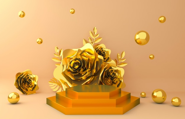 Gold display background for cosmetic product presentation. empty showcase,  3d flower paper illustration rendering.