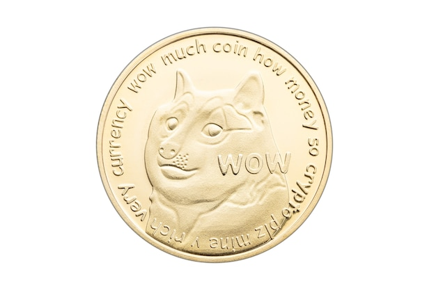 흰색 배경에 고립 된 골드 dogecoin