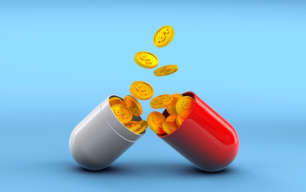 Gold dollar coins fall into an opened pill capsule on a blue background profitable medicine