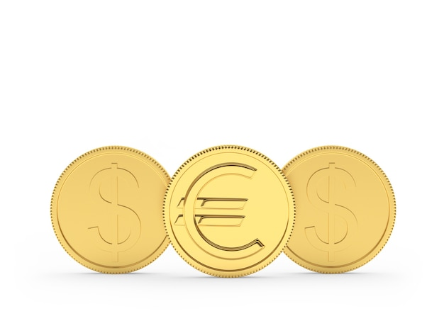 Gold dollar and euro coins