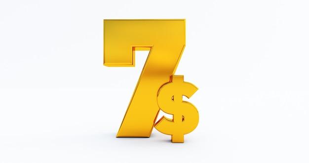 Символ цены золотой доллар, изолированные на белом фоне