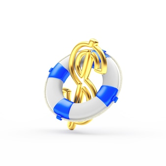 Gold dollar sign in the lifebuoy