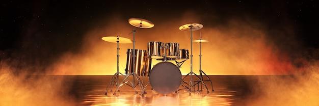 황금 배경 3d 렌더링에 골드 드럼 키트