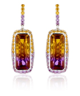 Gold earrings with precious stones ametrine. earrings in white gold with precious stones citrines, ametis.