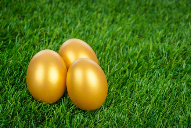 Gold easter egg on a green grass