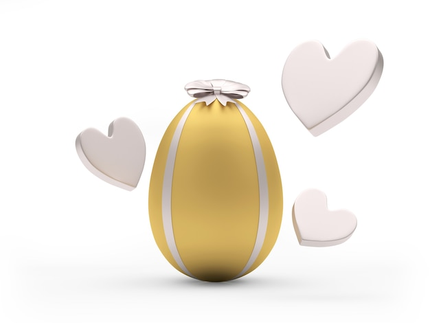 Gold easter egg with ribbon and bow with hearts around