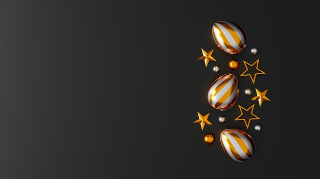 Gold easter eggs on dark background. top view. flat lay. 3d illustration