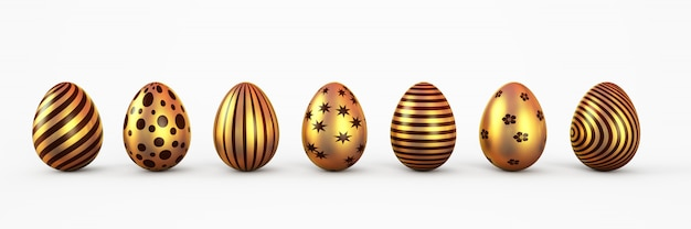 Gold easter eggs with patten set isolated. 3d rendering illustration.