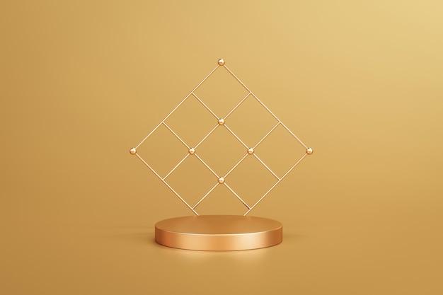 Золотая элегантная подставка для фона продукта или пьедестал подиума на золотом дисплее с роскошными фонами. 3d-рендеринг.