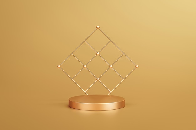 Gold elegant product background stand or podium pedestal on golden display with luxury backdrops. 3d rendering.
