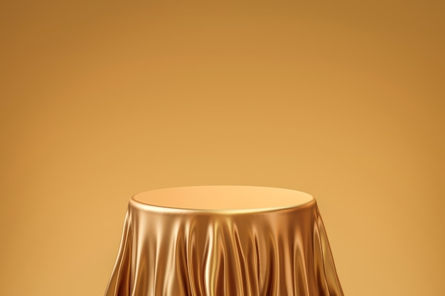 Gold elegant table product background stand or podium pedestal on golden display with luxury backdrops. 3d rendering.