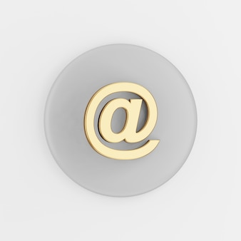 Gold email symbol icon. 3d rendering gray round button key, interface ui ux element.
