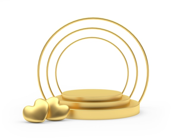 Gold empty round podium with hearts