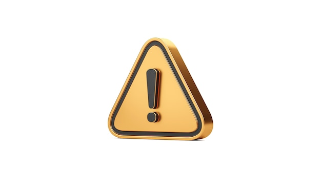 Gold exclamation mark symbol and attention or caution sign icon isolated on alert danger problem white background with warning graphic flat design concept. 3d rendering.
