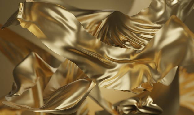 Gold fabric background 3d rendering