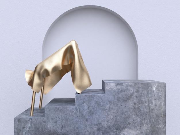 Золотая ткань цемент лестница аннотация сцена 3d рендеринг