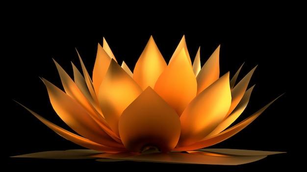 金の花の紙と草。 3dレンダリング。