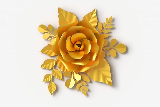 Gold flower paper style, 3d rendering