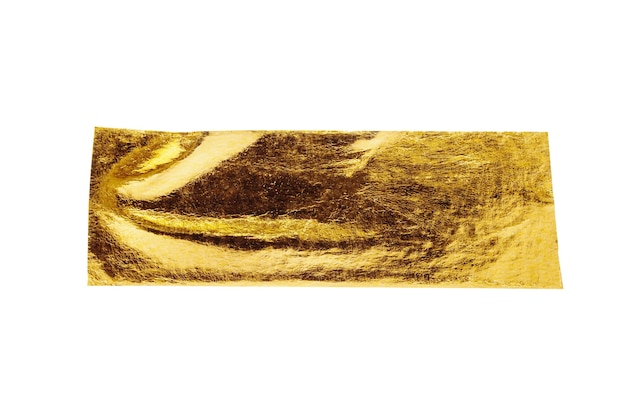 Gold foil adhesive tape isolated on white background