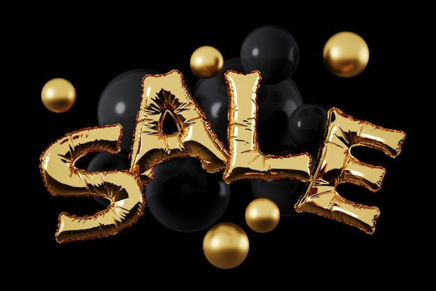 黒い背景に金と黒の球の金箔バルーン「販売」文字