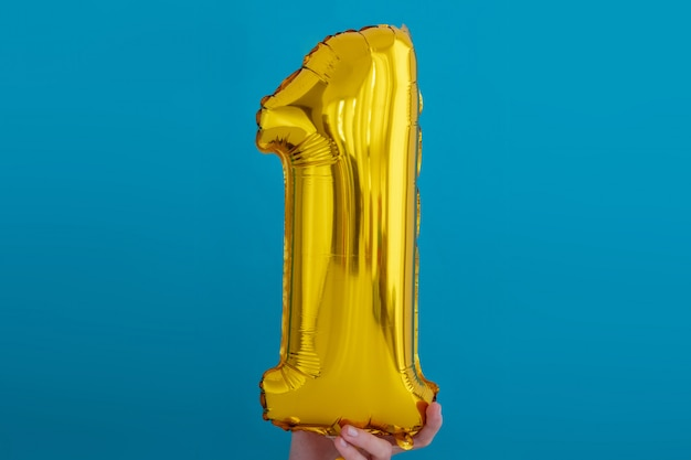 Gold foil number 1 celebration balloon