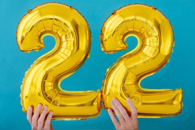 Gold foil number 22 celebration balloon