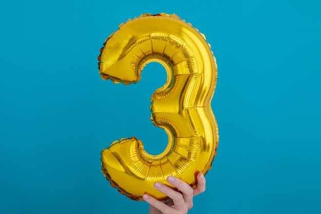 Gold foil number 3 three celebration balloon