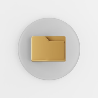 Gold folder icon in flat style. 3d rendering gray round button key, interface ui ux element.